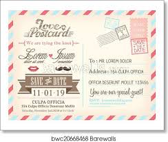 Photo Invitation Postcards Vintage Airmail Postcard Background Vector Template For Wedding Invitation Card Art Print Poster