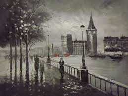 2018 london black white red large oil painting canvas contemporary cityscape originalno frameless draw from livehome 92 47 dhgate com