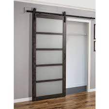 erias home designs continental frosted gl 1 panel ironage laminate interior barn door reviews wayfair