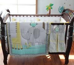 blue elephant baby bedding crib canada boutique pink gray