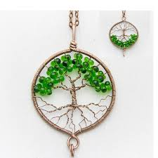 tree of life necklace pendant 1 8 copper wire wrapped pendant brown wired copper jewelry wire wrapped modern tree of life green necklace