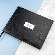personalised black leather guest book product image