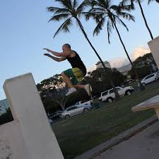 known as the mecca of parkour in hawaii this beautiful beach park has ledges pillars palm trees and sand which all make up a spectacular place to