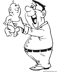 Small Picture Fathers Day Coloring Page Father holding baby