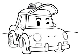 taxicab cap from robocar poli coloring