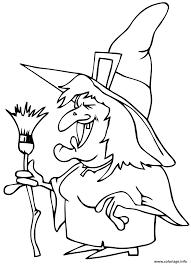 Coloriage Affreuse Sorciere Qui Fait Peur Halloween Dessin