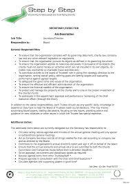 Secretary Job Description Resume Exclusive Idea Secretary Resume 100 Medical For 100a Duties Position 3