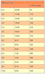 Miles Per Hour Minutes Per Mile Conversion Chart For The