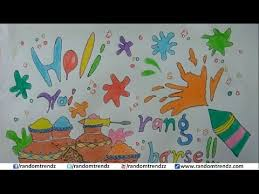 how to draw happy holi poster holi card for kids