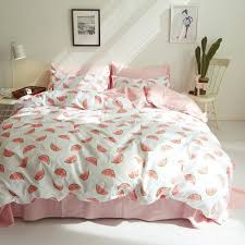 summer watermelon duvet cover set 100 cotton white pink bedding sets for s twin queen king bed sheet plants pillow case canada 2019 from prettyxiu