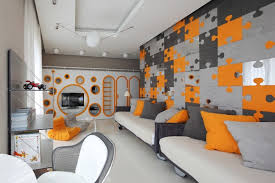 modern boys bedroom with eccentric jigsaw puzzle decor
