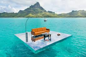 contemporary mid century furniture. How Do Contemporary Mid-century Furniture And Glass Platforms Unite With French Polynesia Waters Mount Otemanu? Ask Gray Malin Mid Century