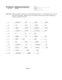 pleasant balancing equations practice worksheet answer key instructional fair inc chemical key 6 balancing equations worksheet