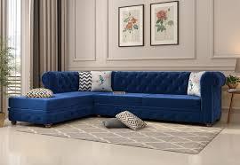 shape left aligned corner sofa velvet