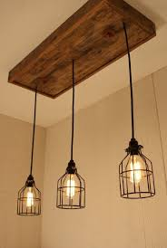homemade lighting fixtures. cage light chandelier with 3 lights lighting edison bulb upcycled wood homemade fixtures