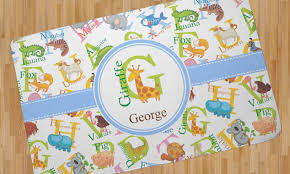 animal alphabet area rug personalized
