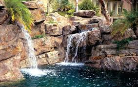 Rock Waterfalls For Inground Pools Rock Faux Rock Waterfall Pool