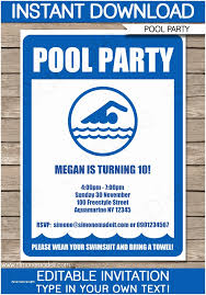 Pool Party Invitations Templates Free Free Pool Party