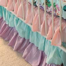 pink and aqua bedding girl baby bedding crib skirt fl pastel pink blue lavender aqua and