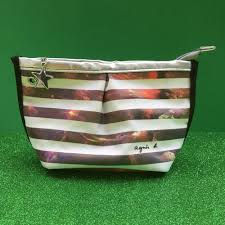 dels about agnes b striped makeup bag with photo print an only item