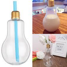 Light Bulb Drink Bottle Bottle With Light Bulb Glass Beverage Milky Tea Fruit