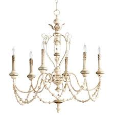 flo white washed french country beaded swag 6 light chandelier