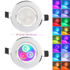 Details About 2x 5w Rgb 16 Color Led Recessed Ceiling Light Spotlight Downlight Lamp Ir Remote