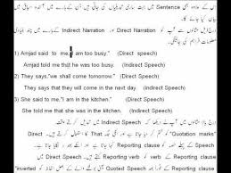 Direct And Indirect Speech Rules Chart In Urdu 2014