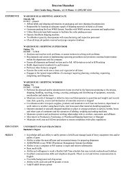 shipping and receiving resume. Warehouse Shipping Resume Samples Velvet Jobs