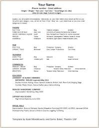 Actor Resume Template Word Cool Theatre Resume Template Acting 48 Free Word Excel Within Theater 48