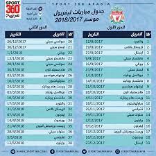جدول مباريات ليفربول في الدوري الإنجليزي لموسم 2017-2018 - سبورت 360