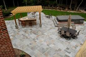 Image Herringbone Stamped Concrete Patio With Pergola Hot Tub Angies List Are Stamped Concrete Patios Affordable And Appealing Angies List