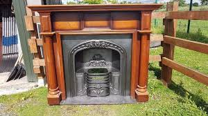 107 cast iron fireplace surround fire wood arch arched antique victorian style old vintage horseshoe