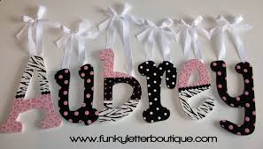 Cotton Candy Zebra Print Painted Wall Letters