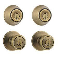 Shop Kwikset Tylo Antique Brass Keyed Entry Door Knob Single ...