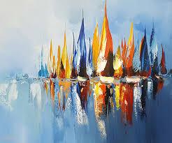 PEINTURE ART DÉCO tableau marine bateau voilier abstrait peinture ...