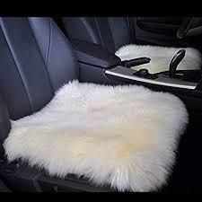 dofover luxurious sheepskin long wool square car seat cushion fur covers chair pads white 15 7