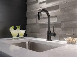 matte black faucet. 3. To Make A Hard Stone Backsplash Look Even Tougher (while Adding Little Curve!) Matte Black Faucet E