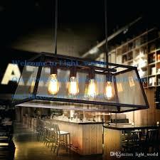 loft pendant lamp retro industrial black iron glass rectangular chandelier light living room dining