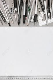 office drawing tools. Office Workspace With Empty Paper Sheet And Various Drawing Tools, Top View Stock Photo - Tools ,