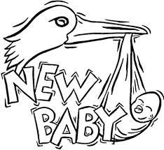Ooievaar Brengt Een Nieuwe Baby Kleurplaat Gratis Kleurplaten Printen