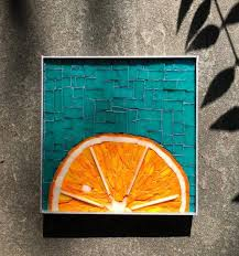 teal stained glass mosaic wall decor