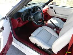 White/Scarlet Interior 1990 Ford Mustang GT Convertible Photo ...