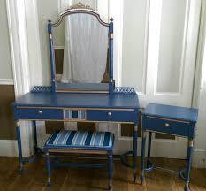 vintage painted vanity table chair