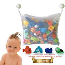 kids toys kids premium baby bath toy storage organizer large size bath toy bag net bathroom accessories bonuses 2 hooks and 4 bathing toy tqo32hgm