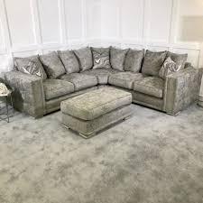 midas crushed velvet fabric corner sofa