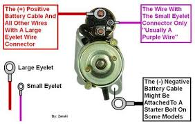 chevrolet cavalier starter wire diagram questions there should be only one wire a small eyelet connector usually a purple or pink colored wire and it will connect to the small terminal on the starter