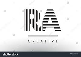 RA R Q Black and White Letter Logo Design with Vertical and Horizontal  Lines.