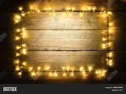 Light Wood Framing Garland Lights Wood Image Photo Free Trial Bigstock