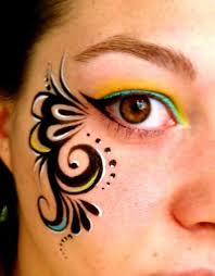 diy flamingo face paint cheek arm art simple eye swirl